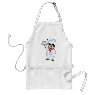 Cartoon chef holding meal and wine adult apron