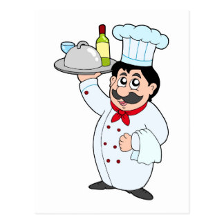 Cartoon chef holding meal and wine postcard