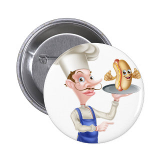 Cartoon Chef Holding Plate or Platter Button