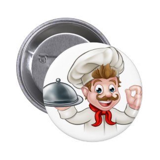 Cartoon Chef Holding Plate or Platter Pinback Button