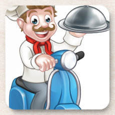 Cartoon Chef on Moped Scooter Beverage Coaster