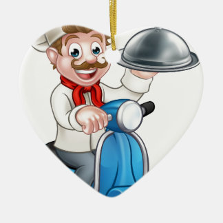 Cartoon Chef on Moped Scooter Ceramic Ornament