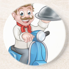 Cartoon Chef on Moped Scooter Drink Coaster