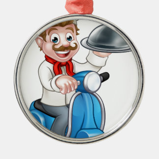 Cartoon Chef on Moped Scooter Metal Ornament