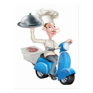 Cartoon Chef on Scooter Moped Delivering Food Postcard