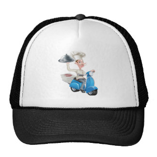 Cartoon Chef on Scooter Moped Delivering Food Trucker Hat