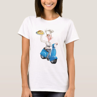 Cartoon Chef on Scooter Moped Holding Kebab T-Shirt