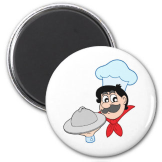Cartoon chef with dish fridge magnet
