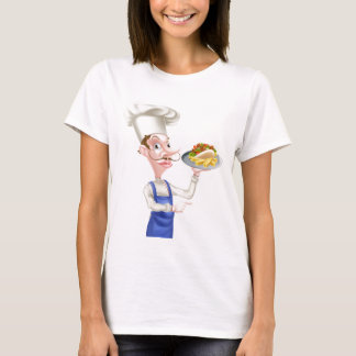 Cartoon Chef With Pita Kebab and Fries T-Shirt
