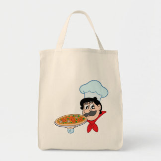 Cartoon chef with pizza bags