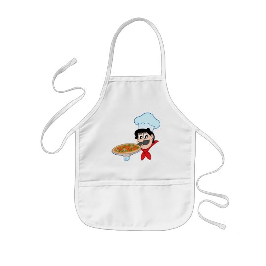 Cartoon chef with pizza kids' apron
