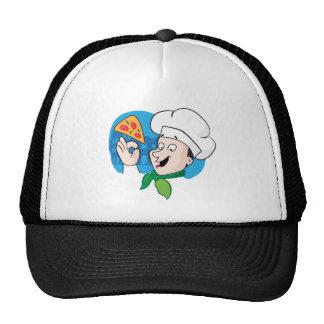 Cartoon chef with pizza trucker hat