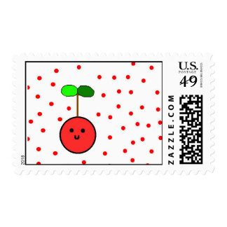 Cartoon cherry postage stamps