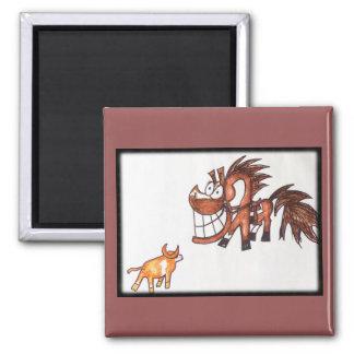 Cartoon chestnut cow horse magnet