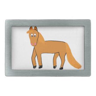 Cartoon Chestnut Horse Rectangular Belt Buckle