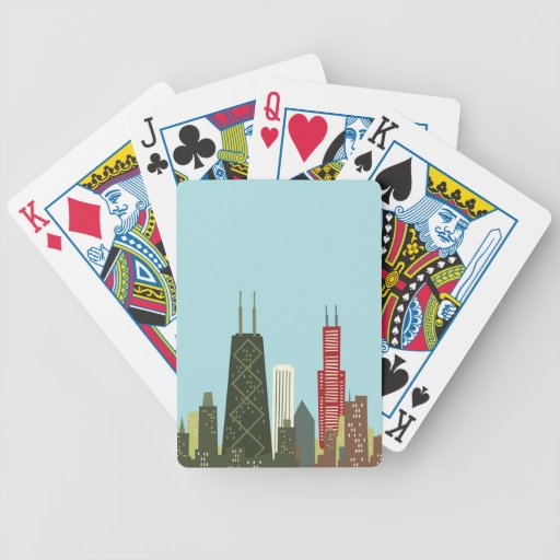 Cartoon Chicago Bicycle Playing Cards