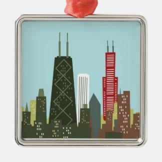 Cartoon Chicago Metal Ornament