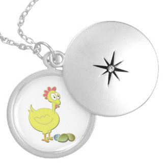 Cartoon Chicken and Eggs Art Personalised Necklace