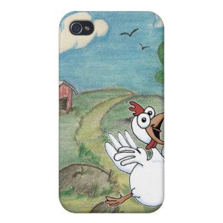 Cartoon chicken dancing in field. iPhone 4 cover