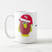 Cartoon Chicken in a Santa Hat Coffee Mug