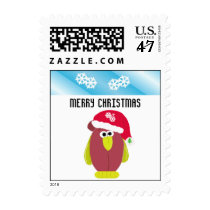Cartoon Chicken in a Santa Hat Postage