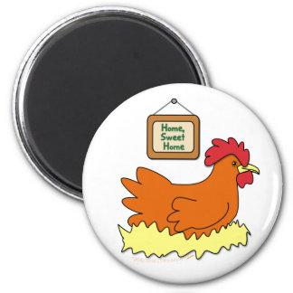 Cartoon Chicken in Nest Home Sweet Home 2 Inch Round Magnet