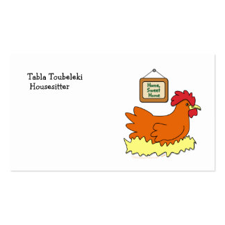 Cartoon Chicken in Nest Home Sweet Home Business Card