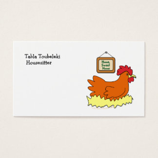 Cartoon Chicken in Nest Home Sweet Home Business Card