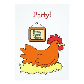 Cartoon Chicken in Nest Home Sweet Home Card