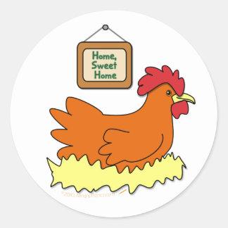 Cartoon Chicken in Nest Home Sweet Home Classic Round Sticker