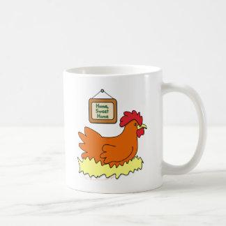 Cartoon Chicken in Nest Home Sweet Home Coffee Mug