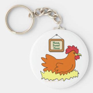 Cartoon Chicken in Nest Home Sweet Home Keychain