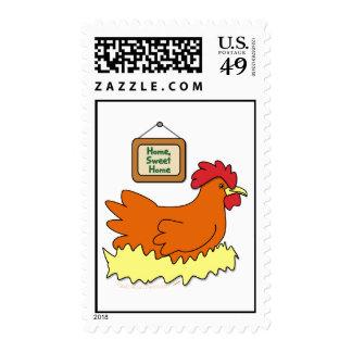 Cartoon Chicken in Nest Home Sweet Home Postage