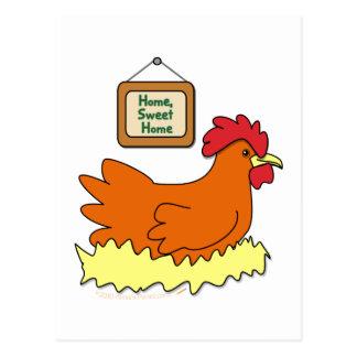 Cartoon Chicken in Nest Home Sweet Home Postcard