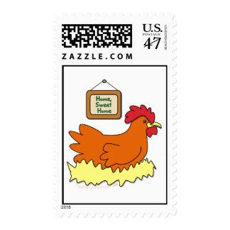 Cartoon Chicken in Nest Home Sweet Home Stamp