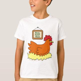 Cartoon Chicken in Nest Home Sweet Home T-Shirt
