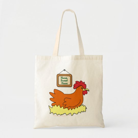 Cartoon Chicken in Nest Home Sweet Home Tote Bag