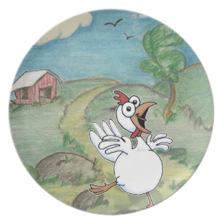 cartoon chicken with chicken coop in background melamine plate