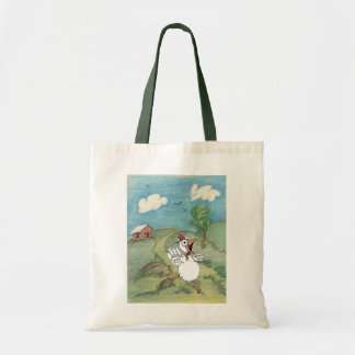 cartoon chicken with chicken coop in background tote bag