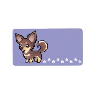 Cartoon Chihuahua (long coat) Address Label