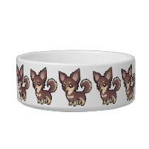 Cartoon Chihuahua (long coat) Bowl