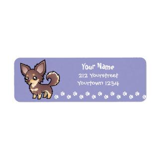 Cartoon Chihuahua (long coat) Return Address Label