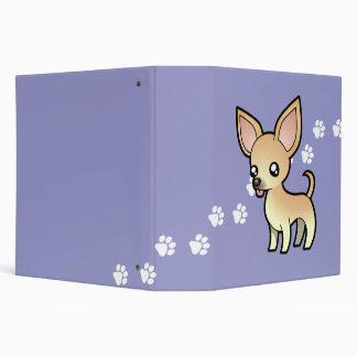Cartoon Chihuahua (smooth coat) 3 Ring Binder