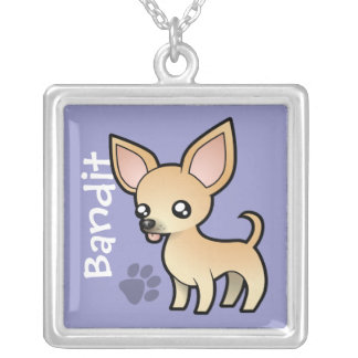 Cartoon Chihuahua (smooth coat) (add pets name) Silver Plated Necklace