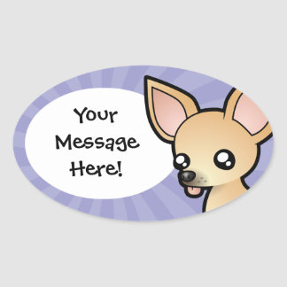 Cartoon Chihuahua (smooth coat) Oval Sticker