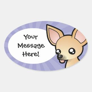 Cartoon Chihuahua (smooth coat) Oval Sticker