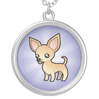 Cartoon Chihuahua (smooth coat) Silver Plated Necklace