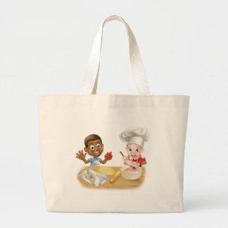 Cartoon Child Bakers Large Tote Bag