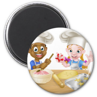 Cartoon Child Chefs Baking Cakes Magnet