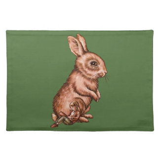 Cartoon Child with Bunny Rabbit Drawing Cloth Placemat